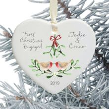 First Christmas Engaged Ceramic Heart Xmas Tree Decoration - Robins Mistletoe and Bow Design